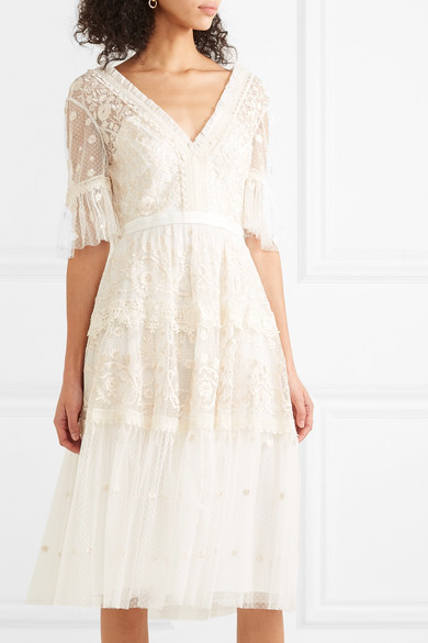 2e26db74c424 Needle & Thread | Midsummer lace-trimmed embroidered point d'esprit ...