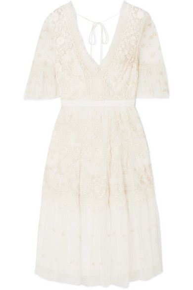 NEEDLE & THREAD | Needle & Thread - Midsummer Lace-trimmed Embroidered Point D'esprit Tulle Dress - Ivory | Goxip