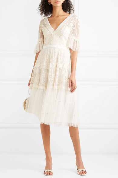 a4dad62f650e Needle & Thread. Midsummer lace-trimmed embroidered point d'esprit tulle  dress