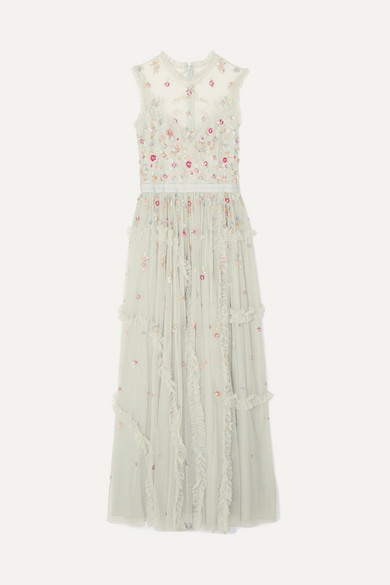 NEEDLE & THREAD | Needle & Thread - Sequin-embellished Tulle Gown - Mint | Goxip