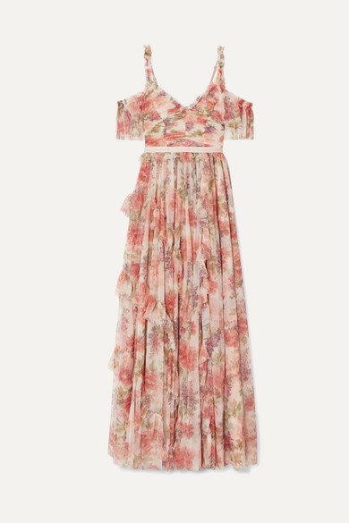 NEEDLE & THREAD | Needle & Thread - Titania Cold-shoulder Ruffled Floral-print Tulle Gown - Pink | Goxip