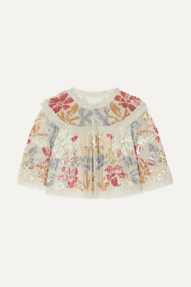 NEEDLE & THREAD | Needle & Thread - Deconstructed Cropped Ruffled Sequin-embellished Tulle Jacket - Mint | Goxip