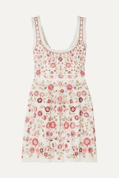 NEEDLE & THREAD | Needle & Thread - Floral Romance Ruffled Sequin-embellished Tulle Mini Dress - Pink | Goxip