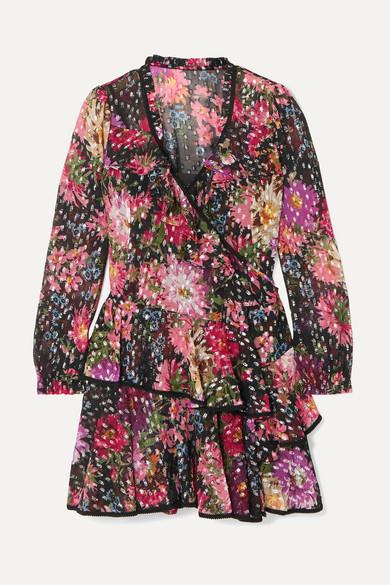 NEEDLE & THREAD | Needle & Thread - Metallic Floral-print Fil Coupé Chiffon Wrap Dress - Black | Goxip