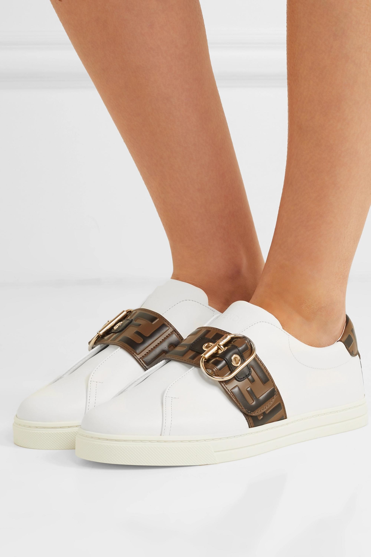 Logo-embossed leather sneakers | Fendi