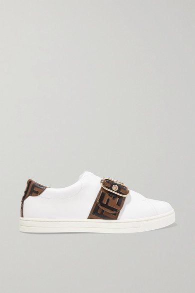 Fendi Pearland Leather Sneakers With Ff Strap In White