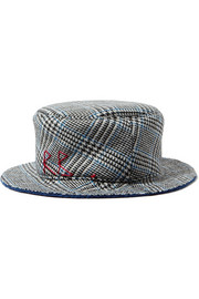 Embroidered checked wool bucket hat