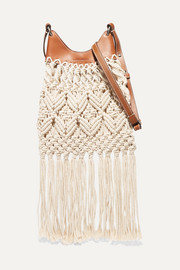 Isabel Marant Small fringed macramé and leather shoulder bag