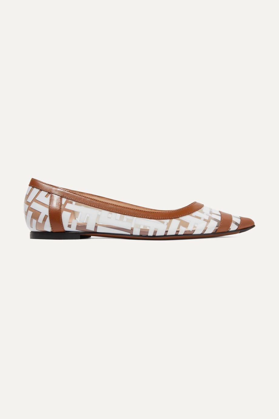 Fendi Colibri 皮革边饰标志印花 PVC 尖头平底鞋