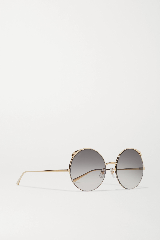 Cartier Eyewear Panthère round-frame gold-tone sunglasses