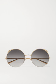 Panthère round-frame gold-tone sunglasses