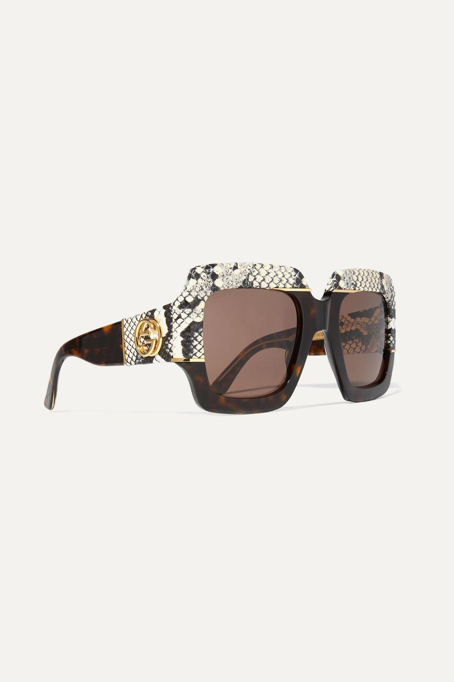 Gucci Oversized square-frame watersnake-trimmed tortoiseshell acetate sunglasses