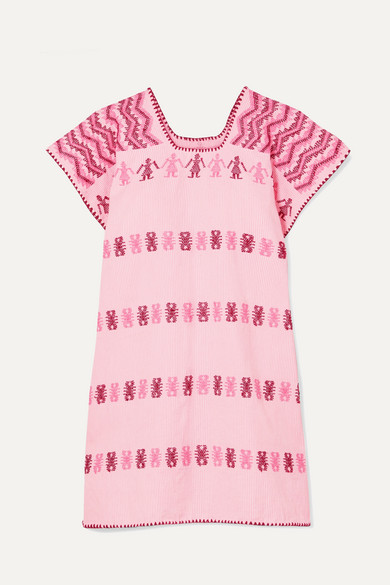 PIPPA HOLT | Pippa Holt - Embroidered Striped Cotton Kaftan - Pink | Goxip
