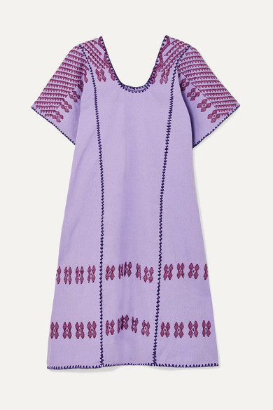 PIPPA HOLT | Pippa Holt - Embroidered Cotton Kaftan - Purple | Goxip