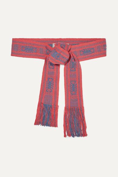 PIPPA HOLT | Pippa Holt - Fringed Cotton-Jacquard Waist Belt - Pink | Goxip