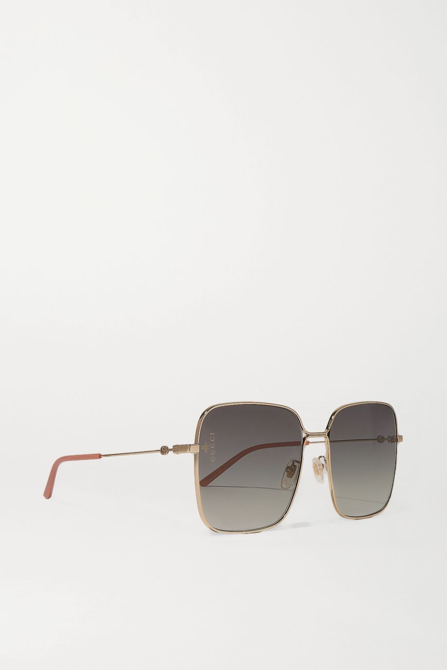 Gucci Goldfarbene Oversized-Sonnenbrille mit eckigem Rahmen
