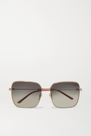 Gucci Oversized square-frame gold-tone sunglasses