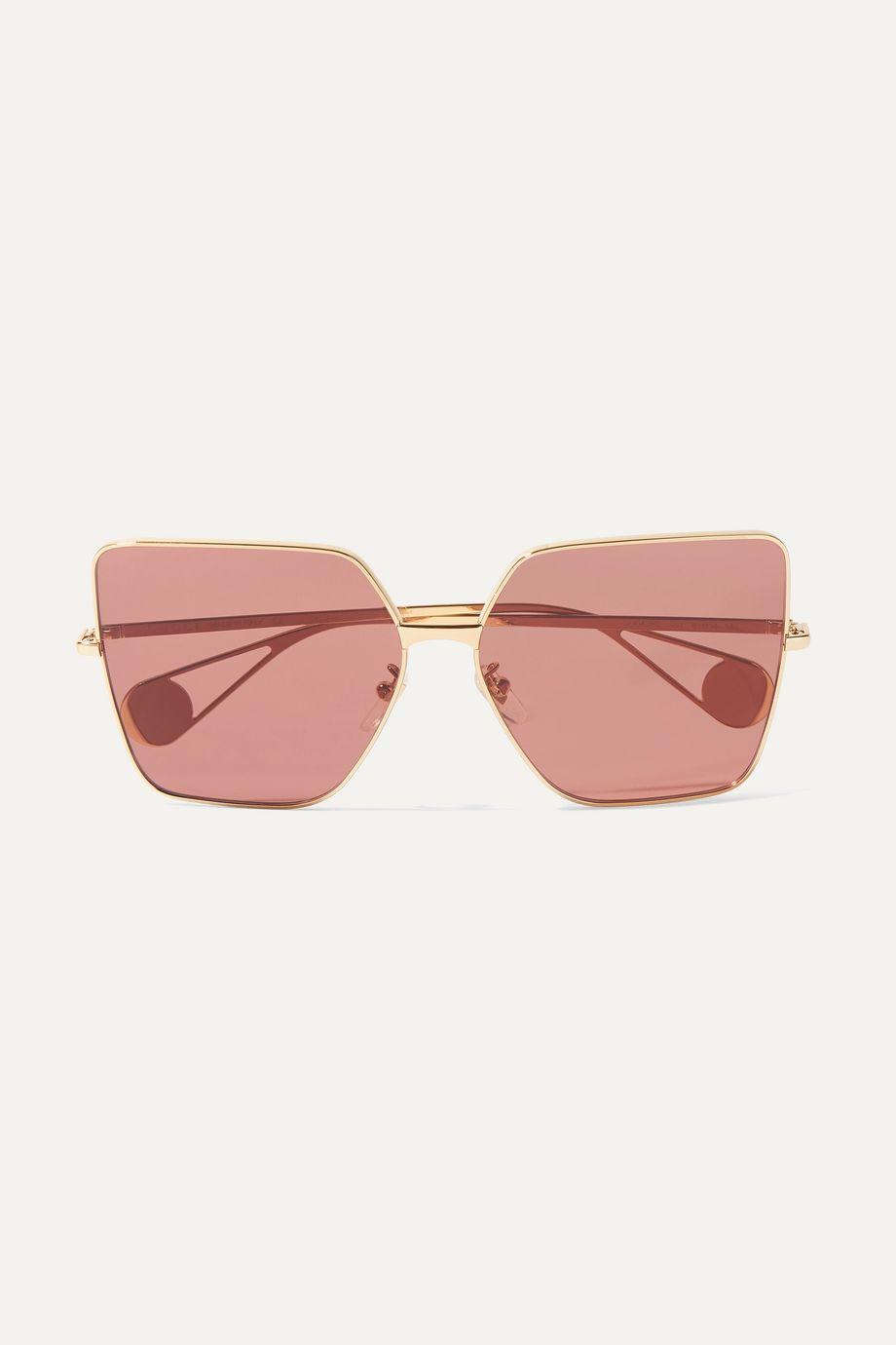 Gucci Square-frame gold-tone sunglasses