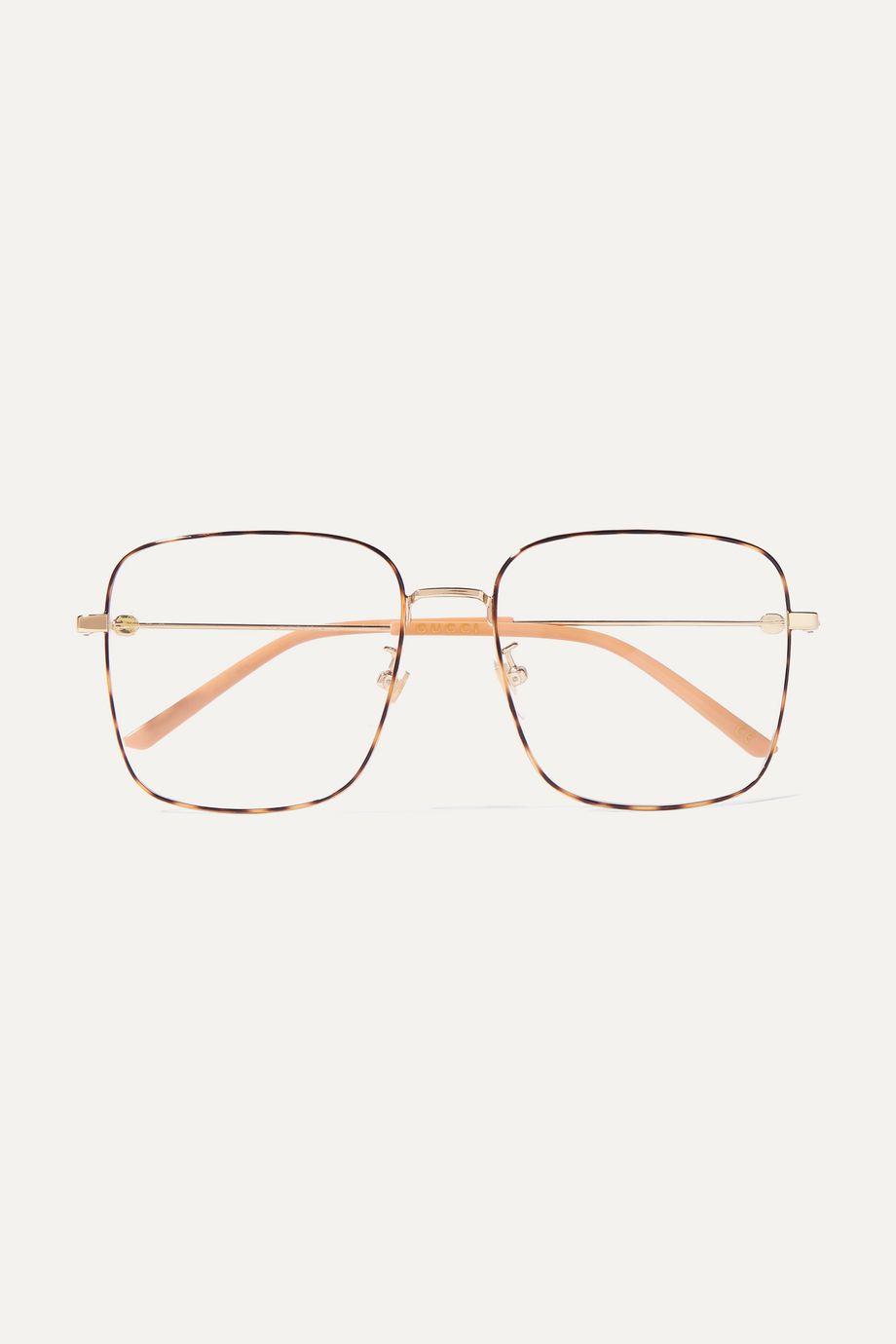 Gucci Square-frame gold-tone and tortoiseshell acetate optical glasses
