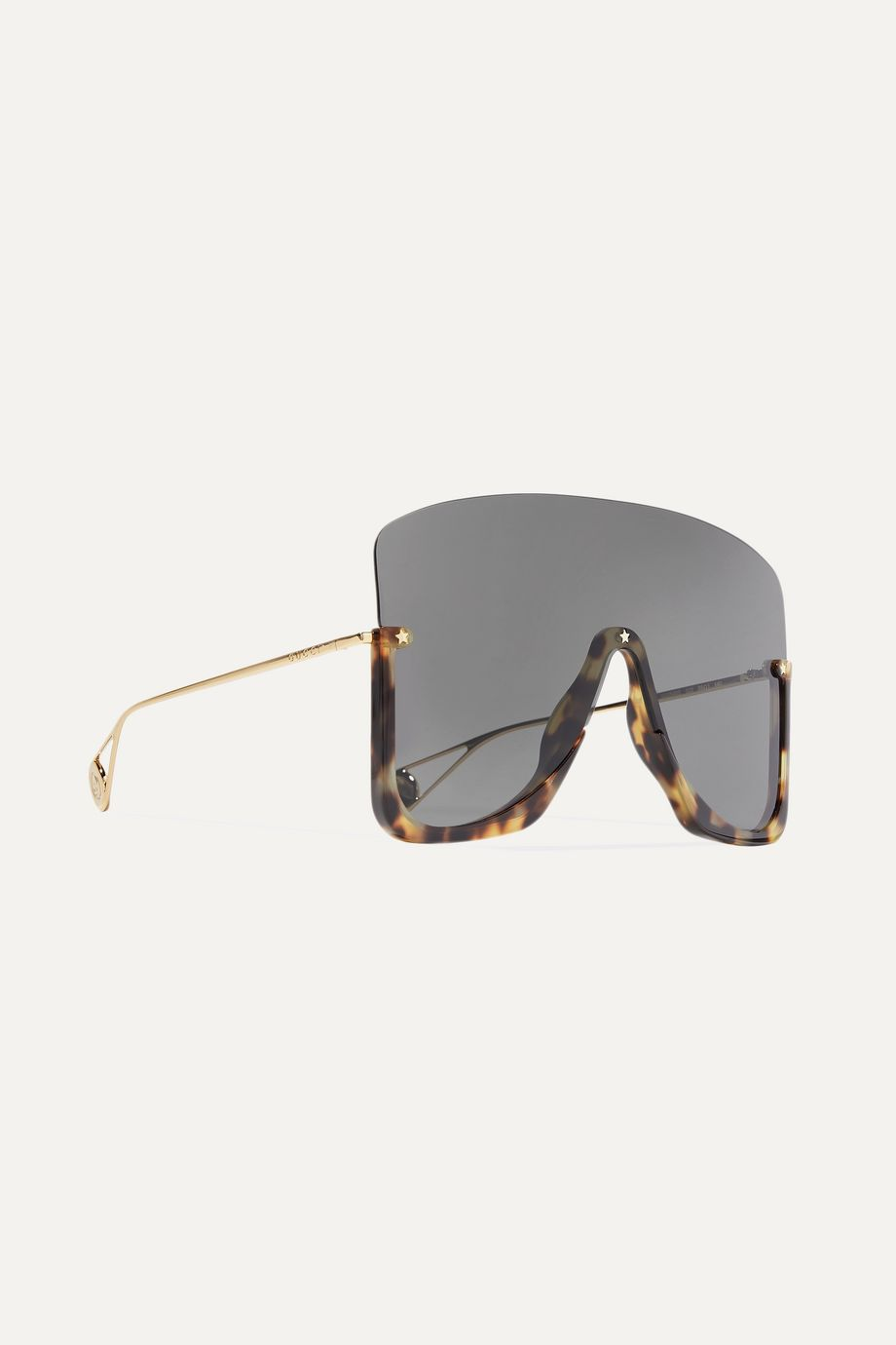 Gucci Visor 板材金色金属方框太阳镜