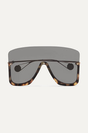 Gucci Visor square-frame gold-tone and acetate sunglasses