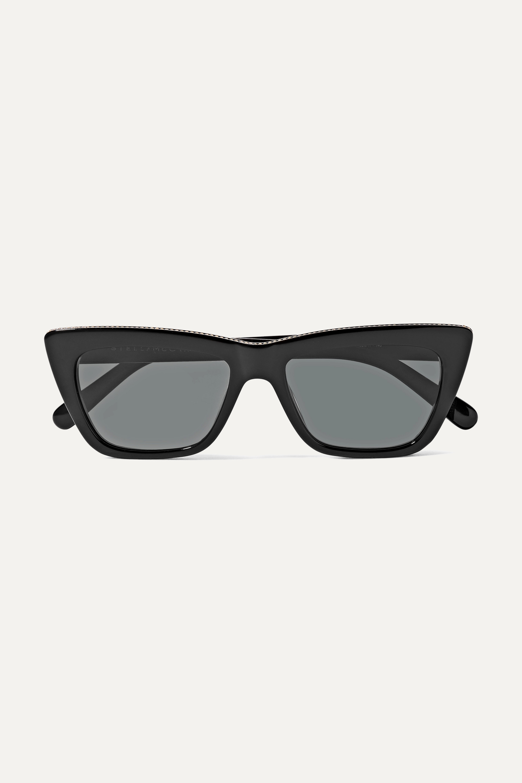 Stella McCartney Chain-embellished cat-eye acetate sunglasses
