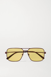 Aviator-style metal and tortoiseshell acetate sunglasses