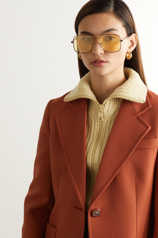 Stella McCartney Aviator-style metal and tortoiseshell acetate sunglasses