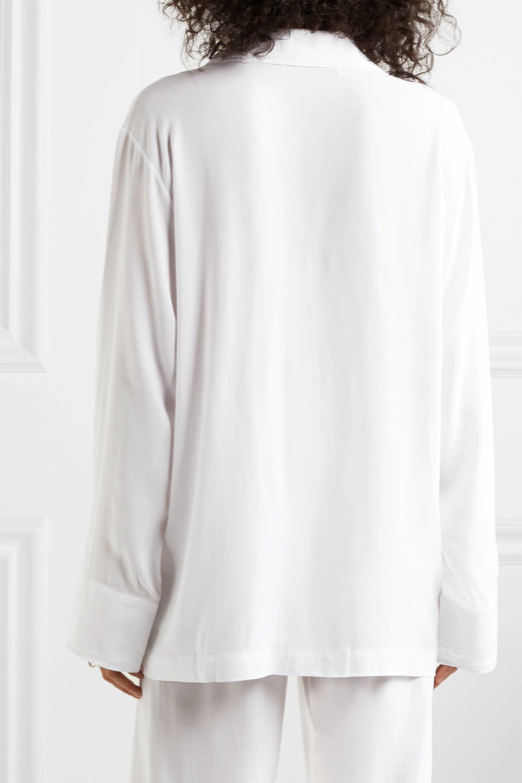 Sleeper Feather-trimmed crepe de chine pajama set