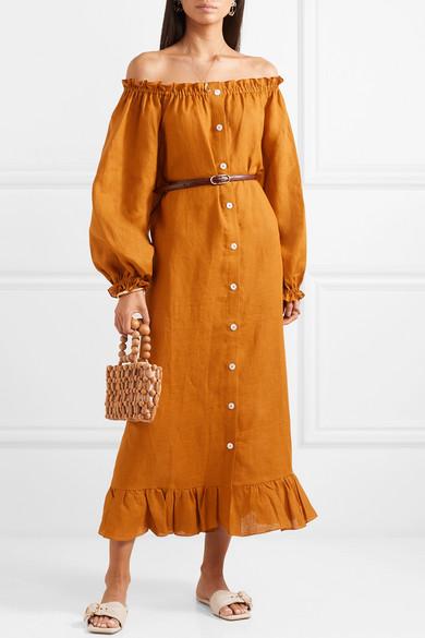 61d7a549699 Ruffled off-the-shoulder linen midi dress