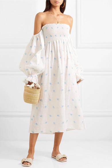 7c2390645c3 Sleeper. Atlanta off-the-shoulder shirred printed linen midi dress