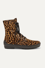 Tod's Leopard-print calf hair ankle boots