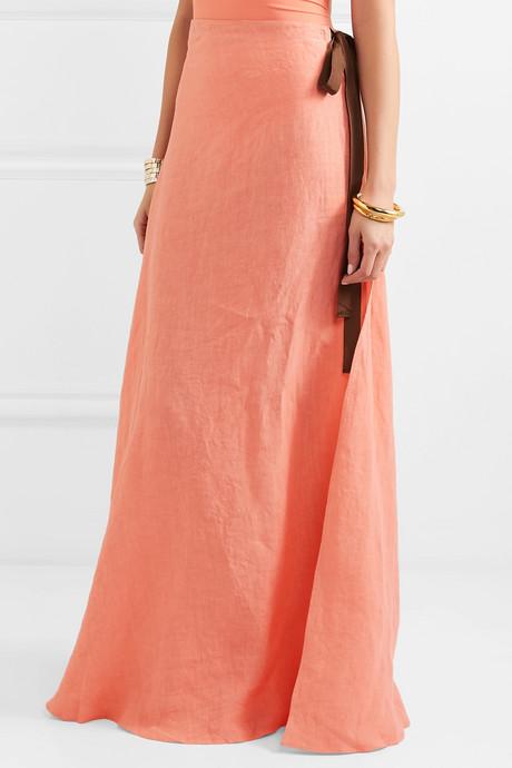 Nevis grosgrain-trimmed linen maxi skirt