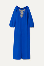 Embroidered silk-georgette kaftan