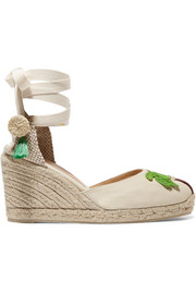 + Mercedes Salazar Carina 80 embroidered canvas wedge espadrilles