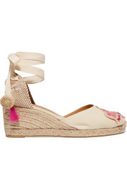 + Mercedes Salazar Carina 60 embroidered canvas wedge espadrilles
