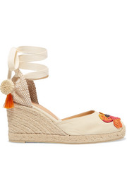 + Mercedes Salazar Carina 80 embroidered wedge espadrilles
