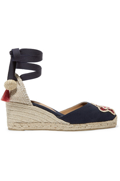65169456456 Castañer. + Mercedes Salazar Carina 60 embroidered canvas wedge espadrilles