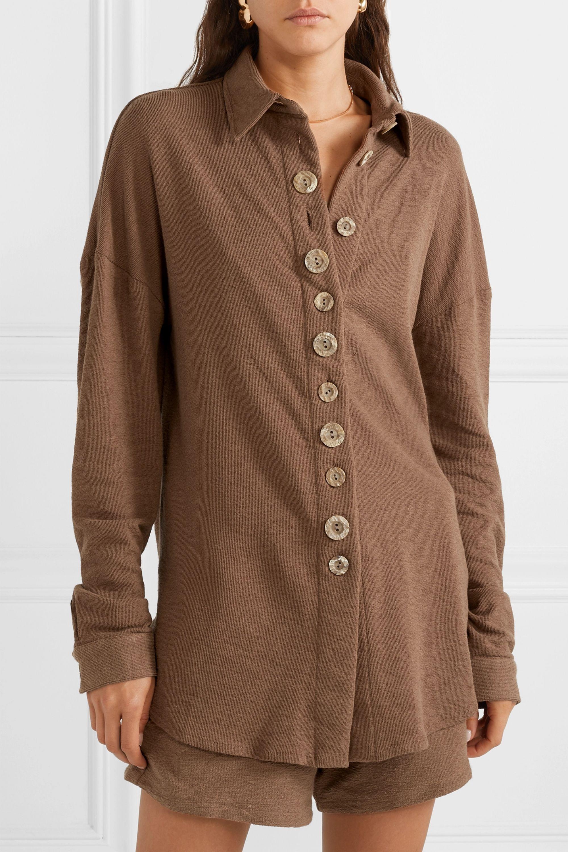 Albus Lumen Traveller Oversized-Hemd aus Frottee aus einer Baumwollmischung