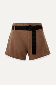 Traveller belted cotton-blend terry shorts