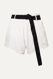 Belted textured-cotton shorts