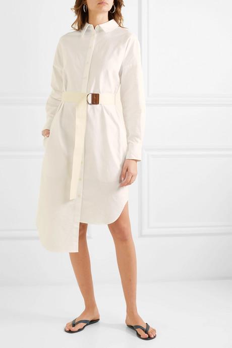 Belted cotton-piqué midi dress