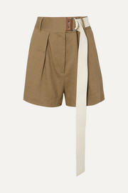 Tibi Pleated belted linen-blend twill shorts