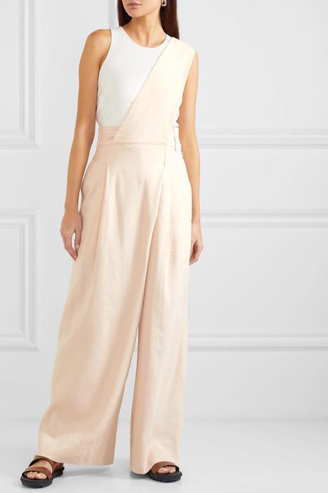 One-shoulder linen-blend twill jumpsuit