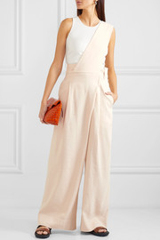 One-shoulder linen-blend twill jumpsuit