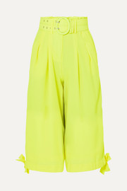 Neon cropped crepe wide-leg pants