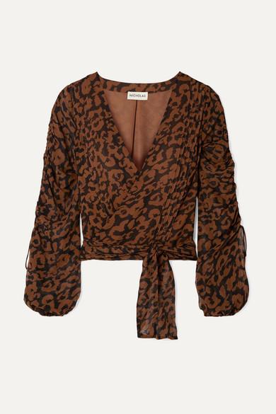 001f89ad5079 Nicholas | Ruched leopard-print silk-chiffon wrap top | NET-A-PORTER.COM