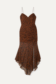 Nicholas Ruched leopard-print silk-chiffon dress