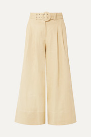 Nicholas Belted cropped linen culottes
