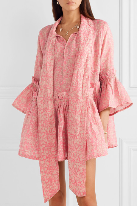 Angelica ruffled floral-print linen tunic